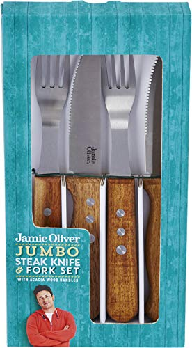 Jamie Oliver Jumbo Steakmesser und Gabel Set 8-teilig, Edelstahl, Black/Silver/Wood, 25c
