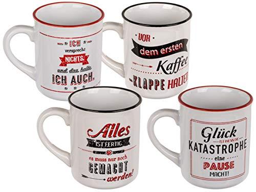 Bada Bing Becher 4er Set Kaffeetasse Spruch Becher Steingut Tasse Tee Mug Botschaft Geschenk Trend 62