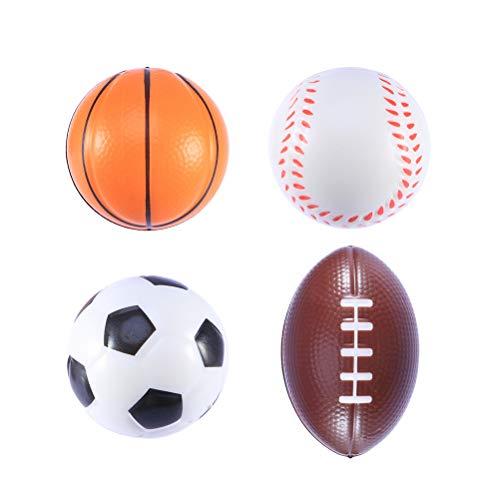 BESPORTBLE 4 stücke Mini Sportbälle Stress Bälle Favor Spielzeug für Kinder Party Stressabbau (1 stück Rugby, 1 stück Fußball, 1 stück Basketball, 1 stückBaseball)