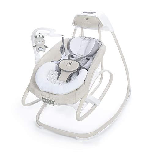 Ingenuity, 2 in 1 Babyschaukel und -wippe Holden Panda mit Vibrationen, Melodien, automatischer Schaukelfunktion, Zeitschaltuhr und Netzadapter, dreht sich um die eigene Achse