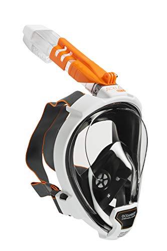 OCEAN REEF - ARIA QR+ Schnorchelmaske - Tauchermaske mit Mundstück - Für eine bessere 180 Grad Unterwassersicht - Unisex - Weiß - Größe M/L