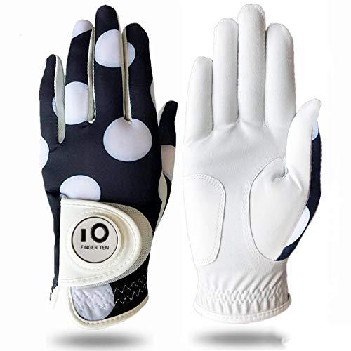 FINGER TEN Golfhandschuh Damen Linke Hand Rechte Mit Ball Marker Allwetter Leder Griff Mode Bedruckter Golf Handschuh Links Rechts Weicher Komfort Passform (Weißer Punkt S-Links)
