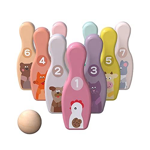 Perfect Flower Kinder Bowling Set,Bowling Kinder Holzspielzeug,Kegelspiel Für Kinder Ball Set,Kegelspiel Für Kinder Bowlingkugel Kegel Drinnen Draußen Spielzeug