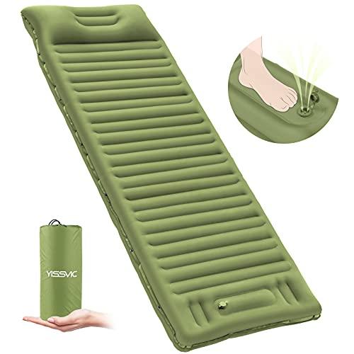 YISSVIC Isomatte Camping Selbstaufblasbare Luftmatratze mit eingebauter Pumpe Verdickte Schlafmatte Outdoor mit Kissen für Wandern Reisen Armee grün