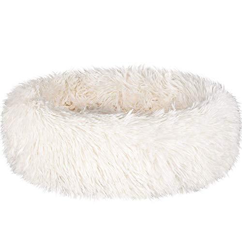 Bestdon Haustierbett für Katzen und Hunde,Rundes Plüsch Hundebett,Katzenbett in Doughnut-Form,Weiß 40cm