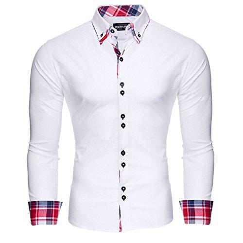 Reslad Herren Hemd Slim Fit Bügelleicht Ideal für Anzug, Business, Hochzeit | Freizeithemd Langarm Männer-Hemden RS-7015 Weiß XL