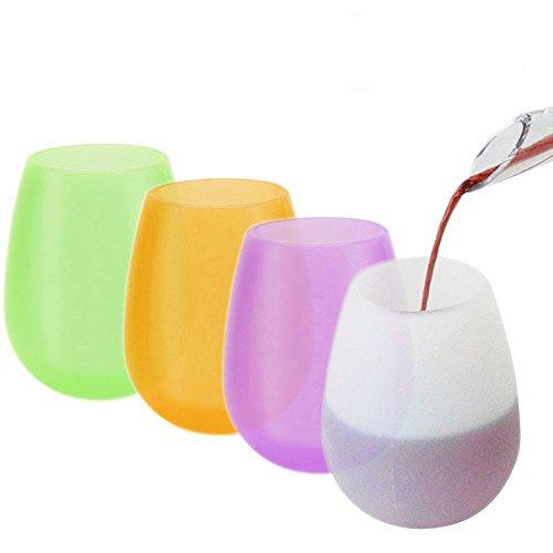 ungiftig Flexible Portable Gläser, BPA frei, Spülmaschine, Mikrowelle, Backofen und Gefrierschrank Safe, 12 oz, 4 Farben (4er Set)