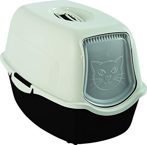 Rotho Bailey Katzenklo mit Haube und Klappe, Kunststoff (PP) BPA-frei, schwarz/weiss, 56,0 x 40,0 x 39,0 cm