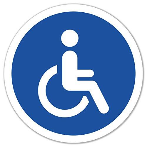 4 Stück Behinderten Aufkleber Rollstuhl Autoaufkleber Ø 9,5cm Behindertenschild Rollstuhlfahrer WC Tür Sticker mit UV Schutz für Außenbereich Innenbereich