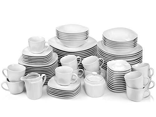 Tafelservice Bilgola 86 teiliges Geschirr-Service für 12 Personen aus Porzellan, Speise-, Suppen-, Dessertteller, Schalen, Tassen und Untertassen, erweiterbar, Alltag, Outdoor Teller Set von Sänger