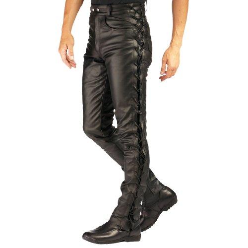 Roleff Racewear 338 Lederhose mit seitlicher Schnürung, Größe: 38, Schwarz