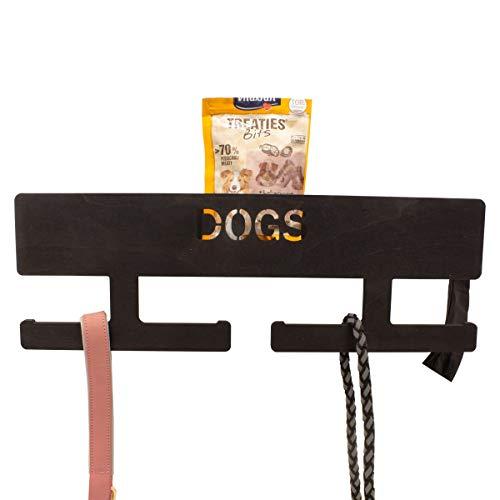 INEXTERIOR Hundegarderobe XL - Farbe: Schwarz - aus Holz - mit großer Ablage - in Deutschland gefertigt - mit Spender für Hundekotbeutel und Haken für Handtücher (Schwarz)