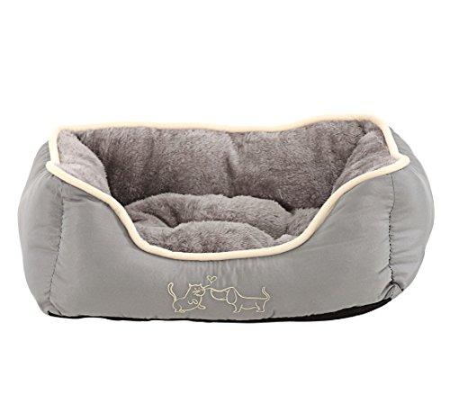Dehner Hunde- und Katzenbett Sammy, ca. 61 x 48 x 18 cm, Polyester, grau