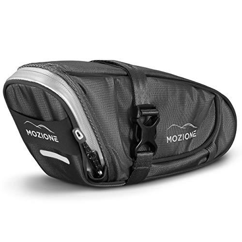 Mozione Satteltasche für Fahrrad - wasserdichte Fahrradtasche für Werkzeuge und Fahrradzubehör - Radtasche Sattel mit Rücklichthalter & Reflektoren - Leicht und Kompakt (1,2L)