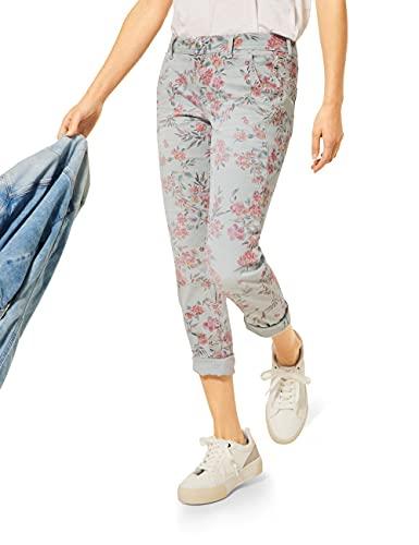 Street One Damen Crissi Jeans, Light Green Flower Print, W28/L28