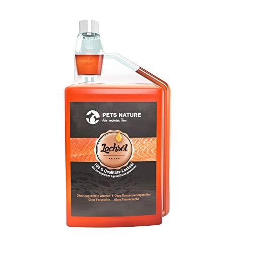 Pets Nature Lachsöl für Hunde und Katzen - 1 Liter reines Premium Fischöl mit Omega 3 und 6 für Ihren Hund, Katze und Pferd, 1000 ml