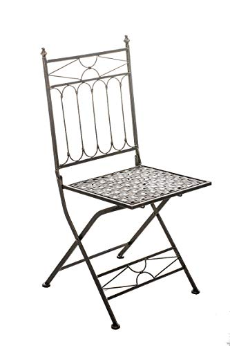 CLP Eisen-Klappstuhl ASINA in nostalgischem Design I Klappbarer Gartenstuhl mit edlen Verzierungen I erhältlich, Farbe:Bronze
