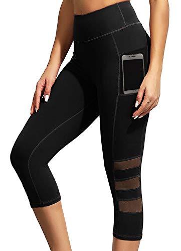 INSTINNCT Damen Doppeltaschen Sport Leggings 3/4 Yogahose Sporthose Laufhose Training Tights mit Handytasche Mesh-Schwarz(Upgrade) M