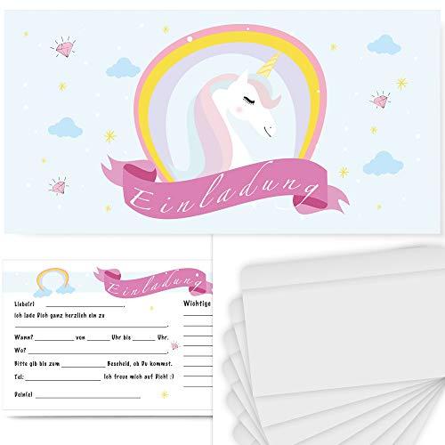 Postkartenschmiede 12 Einhorn Einladungskarten Geburtstag Kinder Mädchen, Einladungen Kindergeburtstag, Einladung Einhorn-Party-Set, Geburtstagseinladungen Maedchen, Pyjama-Party, Unicorn mit Umschlag