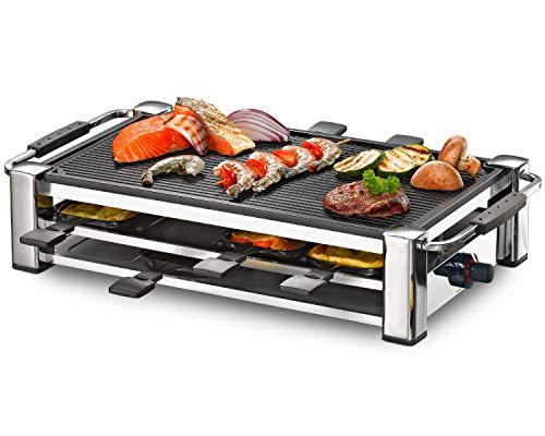 ROMMELSBACHER RCC 1500 Raclette-Grill (extra langes Kabel (2m), Tischgrill für 8 Personen, gerippte Alu-Druckguss-Grillplatte, Xylan Plus Antihaftbeschichtung, Parkdeck, 1500 W) chrom