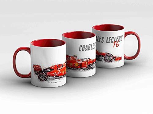 Formel 1 Tasse - Charles Leclerc - Scuderia Ferrari Mission Winnow - Silhouette rot Kaffeebecher