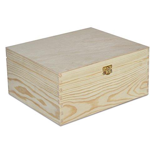 Creative Deco Holzkiste mit Deckel Holzbox Erinnerungsbox | 29 x 25 x 14 cm | Kiste Spielzeugkiste Unlackiert Kasten Aufbewahrungsbox | ohne Griffen | Ideal für Wertsachen, Spielzeuge und Werkzeuge