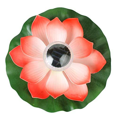 OSALADI Solarbetriebene Lotus Laterne Schwimmende Blumen Solarleuchten Lotusblume Künstliche Seerosen Wasserdicht Solar Lotusblüte Lotusblatt Licht für Pool Teich Garten Deko