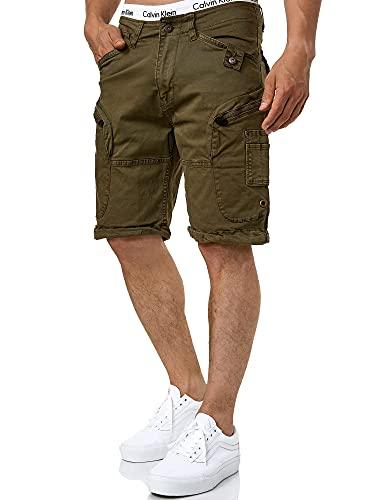 Indicode Herren Bosa Cargo Shorts mit 7 Taschen aus 98% Baumwolle | Kurze Hose Sommer Stretch Herrenshorts Freizeitshorts Men Short Pants Cargohose Bermuda Sommerhose kurz für Männer Dark Olive XL
