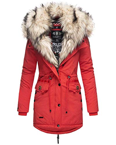 Navahoo 2in1 Damen Winter Jacke Parka Mantel Winterjacke warm Fell B365 [B365-Sweety-Rot-Gr.S]