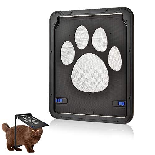 OIZEN Hundeklappen Katzenklappe Fliegengittertür Haustiertüre Haustier Bildschirm Tür Abschließbar für Katze, Mittelgroßen und Kleinen Hund, Schwarz