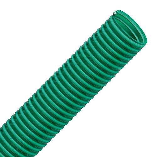 VALEKNA FLEXTUBE GR Ø 32mm (1 1/4 Zoll) Länge 10m PVC Schlauch, Spiralschlauch, Saugschlauch mit Hart PVC Spirale, grün transparent