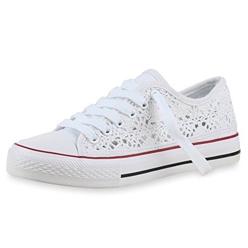 SCARPE VITA Damen Sneakers Stoffschuhe Spitze Sportschuhe Freizeit Schuhe 160415 Weiss White Total 37