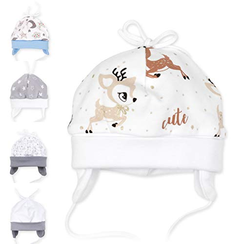 Baby Sweets Unisex Baby Mütze für Mädchen und Jungen in Braun Beige als Erstlingsmütze im REH-Motiv/Babymütze für Neugeborene & Kleinkinder zum Binden in der Größe: 6 Monate (68)