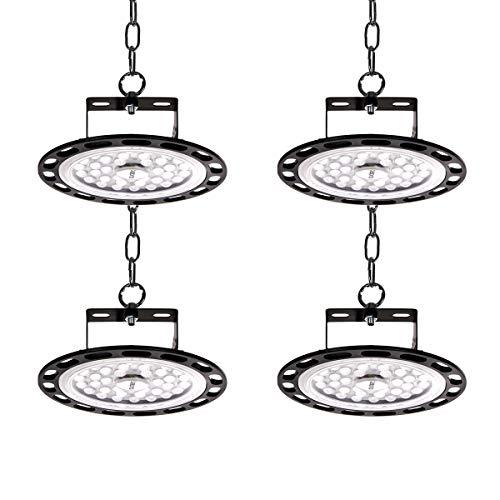 4er 100W UFO LED-Leuchten LED-Scheinwerfer 10000lm 6500k Kaltweiß LED High Bay Light Hall Flutlicht Werkstattlampe Lagerbeleuchtung für Ausstellungshalle, Hallenstadion, Parkhaus, Logistikzentren