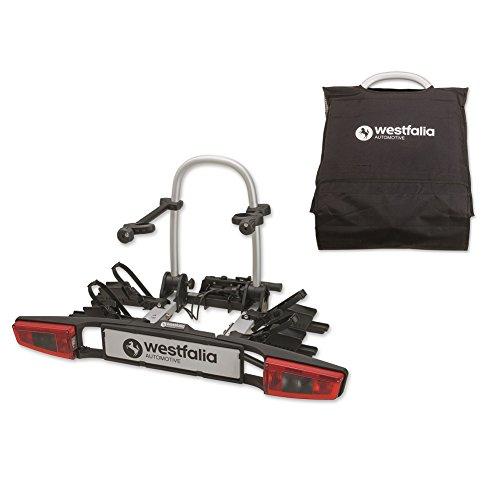 Westfalia bikelander Fahrradträger für die Anhängerkupplung inkl. Tasche - Zusammenklappbarer Kupplungsträger für 2 Fahrräder - E-Bike geeigneter Universal-Radträger mit 60 kg Zuladung