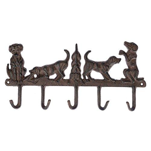 Homescapes Wandhaken/Garderobenhaken Hunde aus Gußeisen, fünf Haken, 35.6cm x 2.4cm x 17.6cm