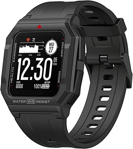 Outdoor Smartwatch Militär Digitaluhr 1.3 Zoll HD Display DIY Sportuhr Tactical Watch Fitness Armband mit Musik Schlafanalyse Herzfrequenz Blutdruck Messgerät Schrittzähler Andriod IOS