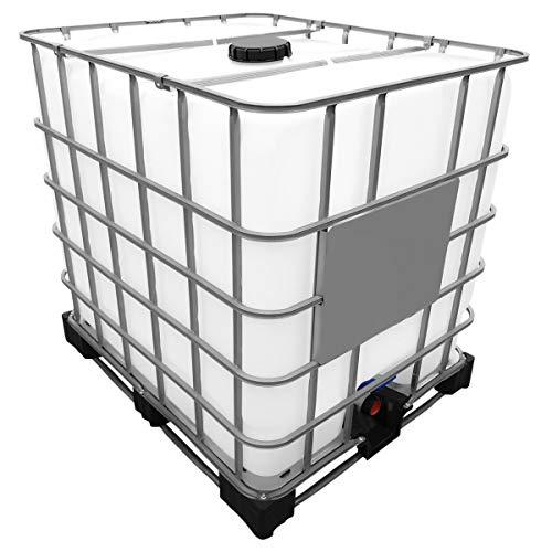 1000l IBC Wassertank auf Stahlpalette REBOTTLED Deckelgröße DN 150, Armaturgröße S60x6 Grobgewinde