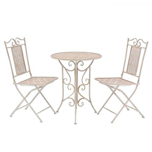 vidaXL Bistroset 3-TLG. Balkonset Balkonmöbel Gartenmöbel Gartenset Sitzgruppe Sitzgarnitur Gartengarnitur Tisch 2 Stühle Stahl Weiß