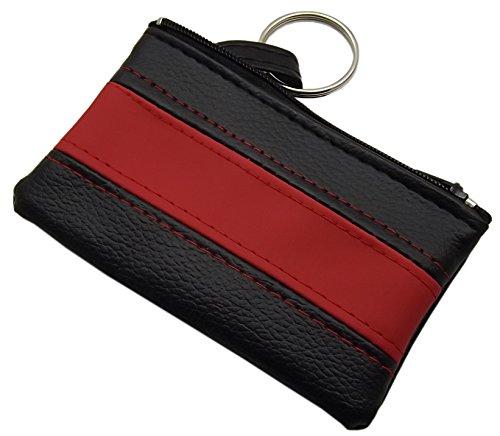 Praktische Schlüsseltasche/Schlüsseletui/Schlüsselmäppchen mit 1 Reißverschlussfach (Schwarz/Rot)