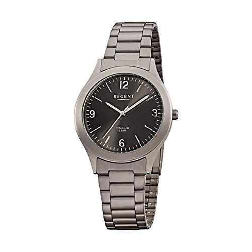 Regent Herren-Armbanduhr Elegant Analog Titan (Metall)-Armband grau silber Quarz-Uhr Ziffernblatt schwarz URF838