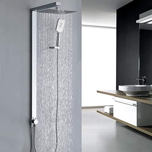 Homelody eckig Duschsystem ohne Armatur Duschset mit Messing Wasserseparator Regenduschset Duschsäule mit 3 Funktion Kopfbrause Handbrause set für Bad
