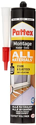 Pattex Montagekleber All Materials, stark haftender Alleskleber, Kraftkleber für innen & außen, Kleber für saugende und nichtsaugende Materialien, 1 x 450g