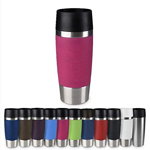 Emsa 513550 Travel Mug Classic Thermo-/Isolierbecher, Fassungsvermögen: 360 ml, hält 4h heiß/ 8h kalt, 100% dicht, auslaufsicher, Quick-Press-Verschluss, 360°-Trinköffnung, Himbeere