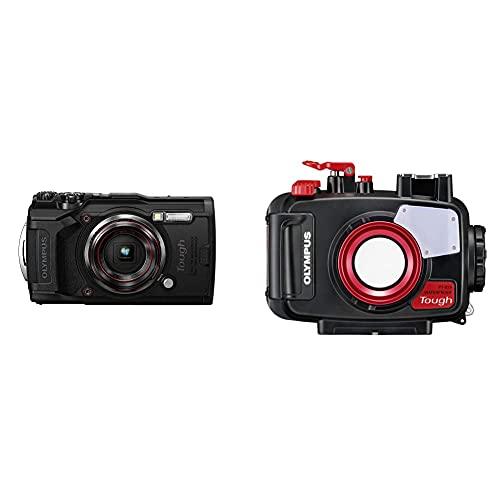 Olympus Tough TG-6 Actionkamera, 12 Megapixel Sensor, Digitale Bildstabilisierung, 4X-Weitwinkel-Zoom, 4k-Video, 120fps, Wi-Fi, schwarz & PT-059 Unterwassergehäuse (geeignet für TG-6 Digitalkamera)