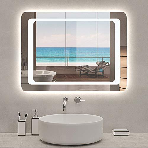 AicaSanitär Badspiegel mit LED Beleuchtung 90×65 cm, Touch, Anti-Beschlag, 6400K Kaltweiß Wandspiegel Mond Serie