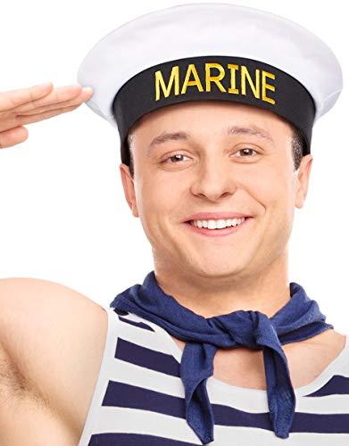 Matrosenhut | Marinehut | Marine Kappe | Matrosen Hut | Seemannshut | Seemannskappe | Marine Mütze | Cap | Cappy für Damen & Herren