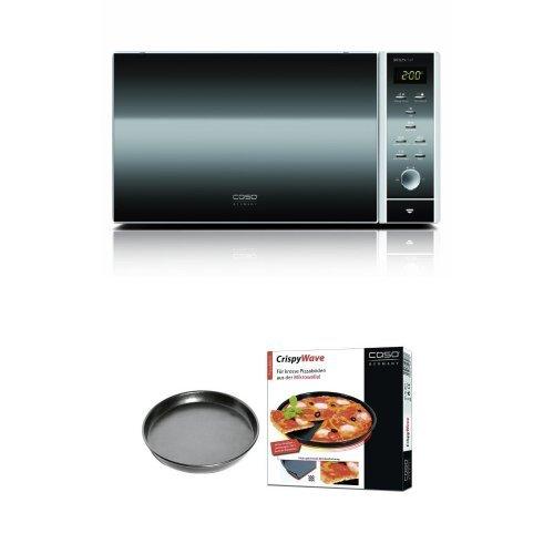 CASO MCG25 chef Design Mikrowelle 3in1 + Caso 3077 Crispy Wave aktives Pizzablech für Mikrowellen