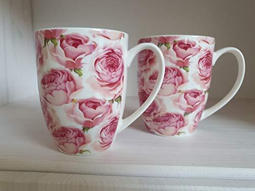Arinosa Tassen Set 2 Teebecher Kaffeebecher Pfingstrose Rosen Rosa Porzellan 11 cm