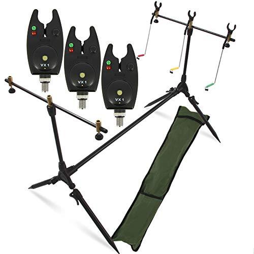 G8DS® Set Rod Pod Rutenhalter + Tragetasche inklusive 3 Bissanzeiger mit Lautstärkeregler Karpfen Angeln